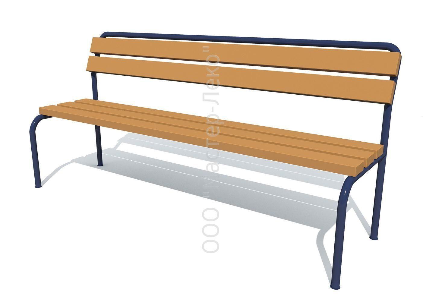 купить скамейку со спинкой на металлическом каркасе